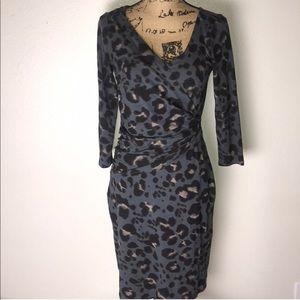 Ann Taylor faux wrap leopard dress